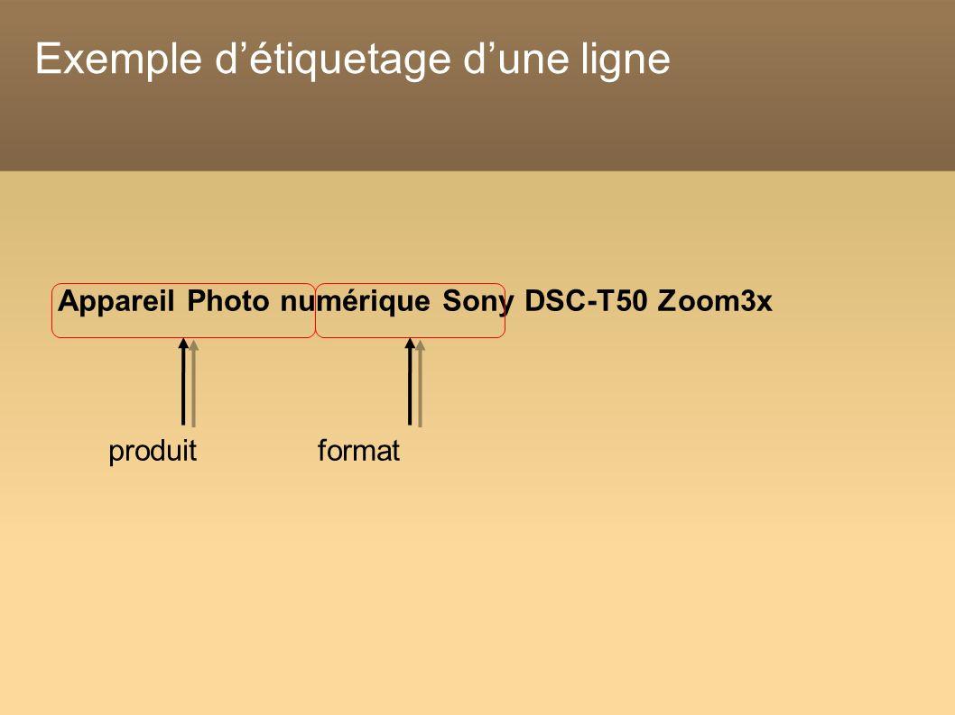 Exemple détiquetage dune ligne Appareil Photo numérique Sony DSC-T50 Zoom3x produit format