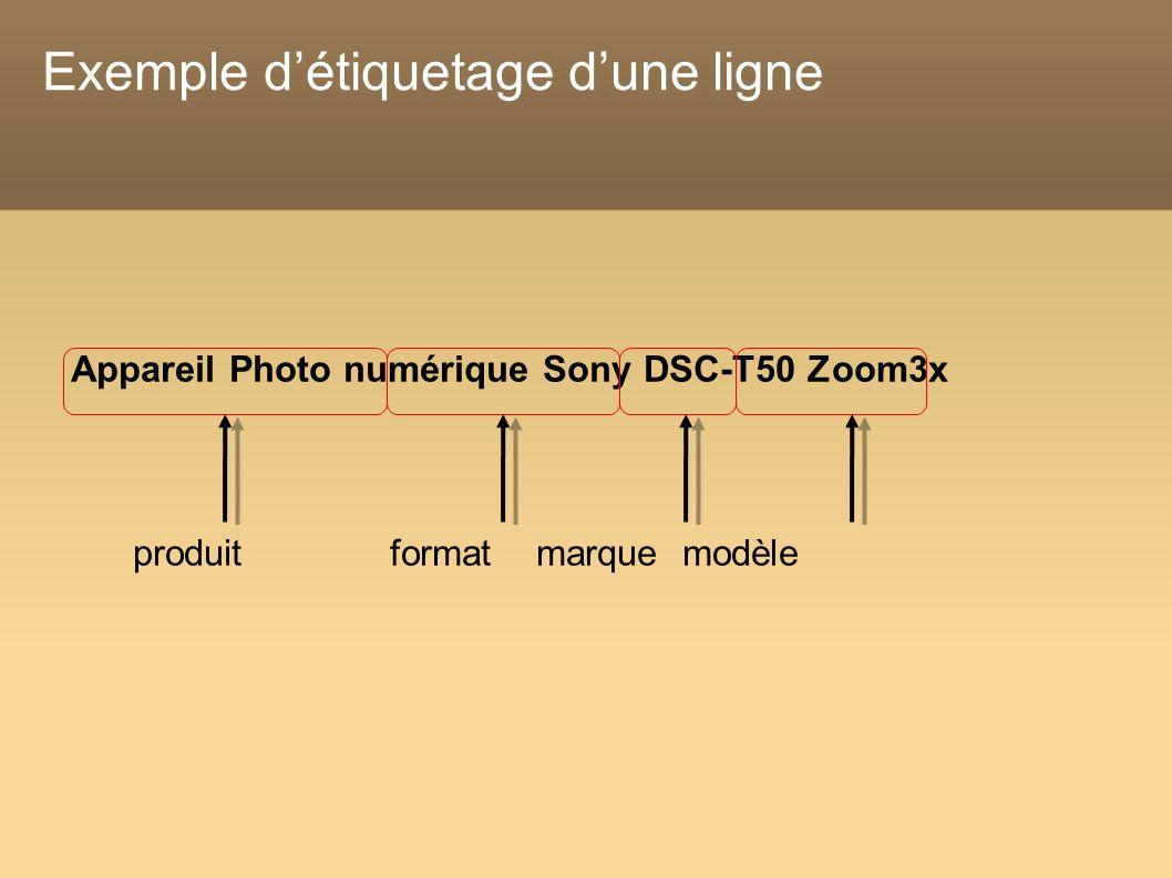 Exemple détiquetage dune ligne Appareil Photo numérique Sony DSC-T50 Zoom3x produit format marque modèle