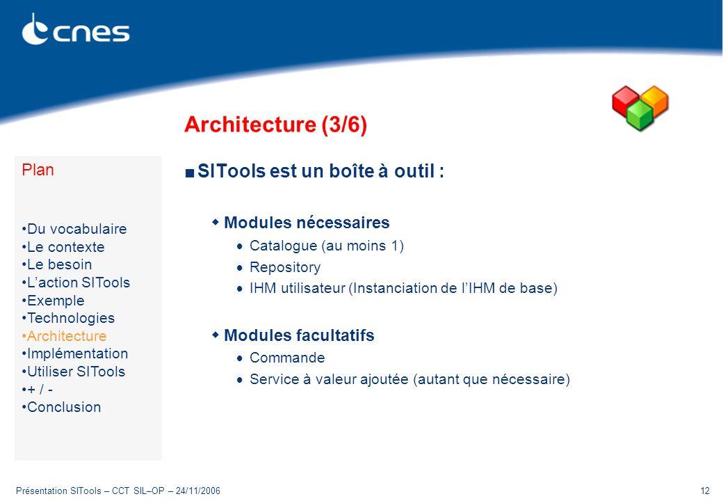 Présentation SITools – CCT SIL–OP – 24/11/200612 Architecture (3/6) SITools est un boîte à outil : Modules nécessaires Catalogue (au moins 1) Repository IHM utilisateur (Instanciation de lIHM de base) Modules facultatifs Commande Service à valeur ajoutée (autant que nécessaire) Plan Du vocabulaire Le contexte Le besoin Laction SITools Exemple Technologies Architecture Implémentation Utiliser SITools + / - Conclusion