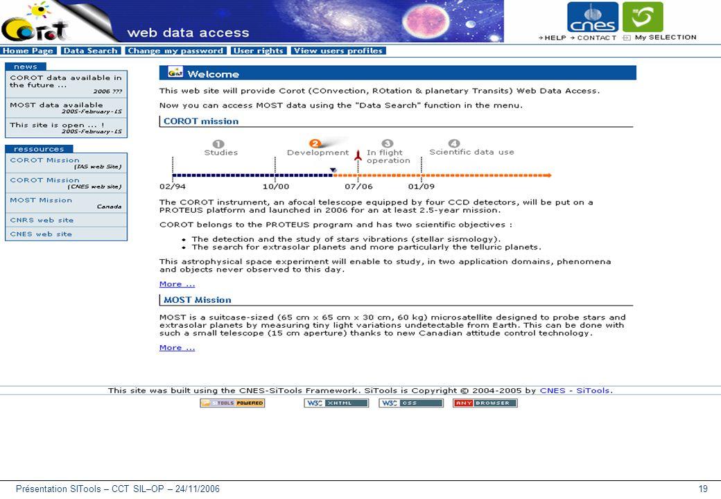 Présentation SITools – CCT SIL–OP – 24/11/200619