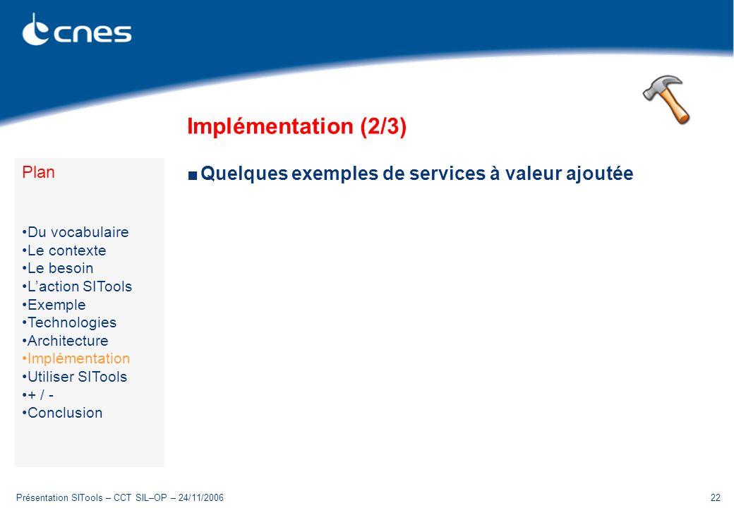 Présentation SITools – CCT SIL–OP – 24/11/200622 Implémentation (2/3) Quelques exemples de services à valeur ajoutée Plan Du vocabulaire Le contexte L