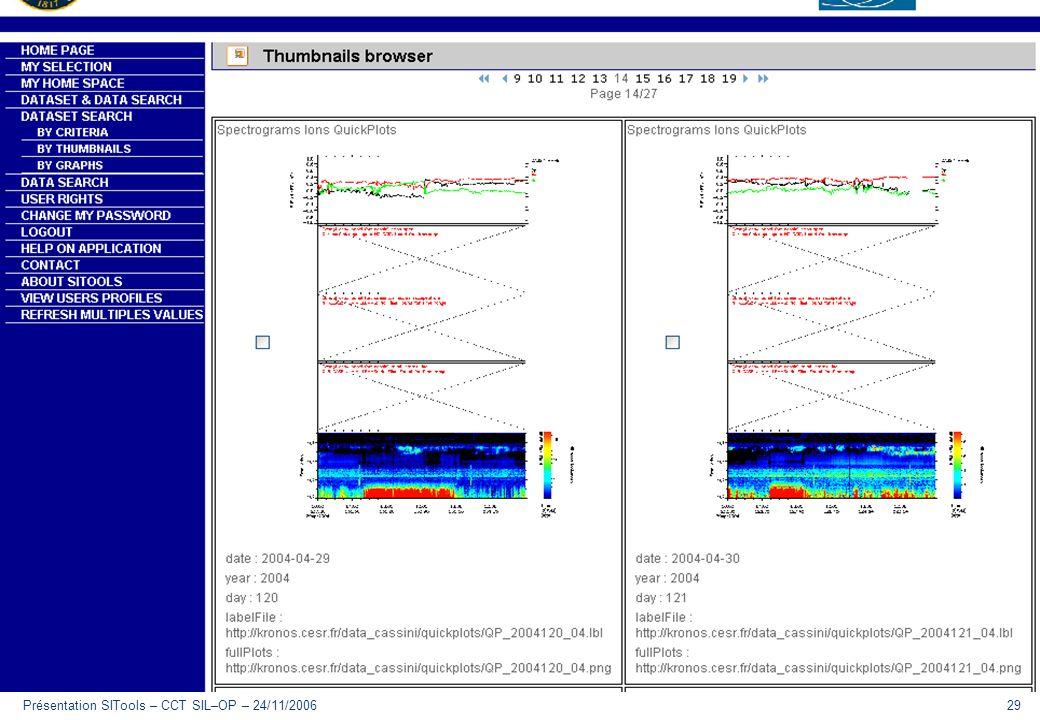 Présentation SITools – CCT SIL–OP – 24/11/200629