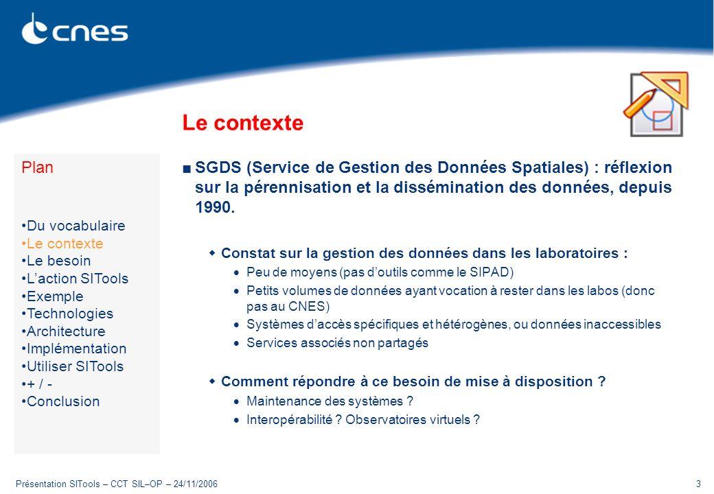 Présentation SITools – CCT SIL–OP – 24/11/20063 Le contexte SGDS (Service de Gestion des Données Spatiales) : réflexion sur la pérennisation et la dis