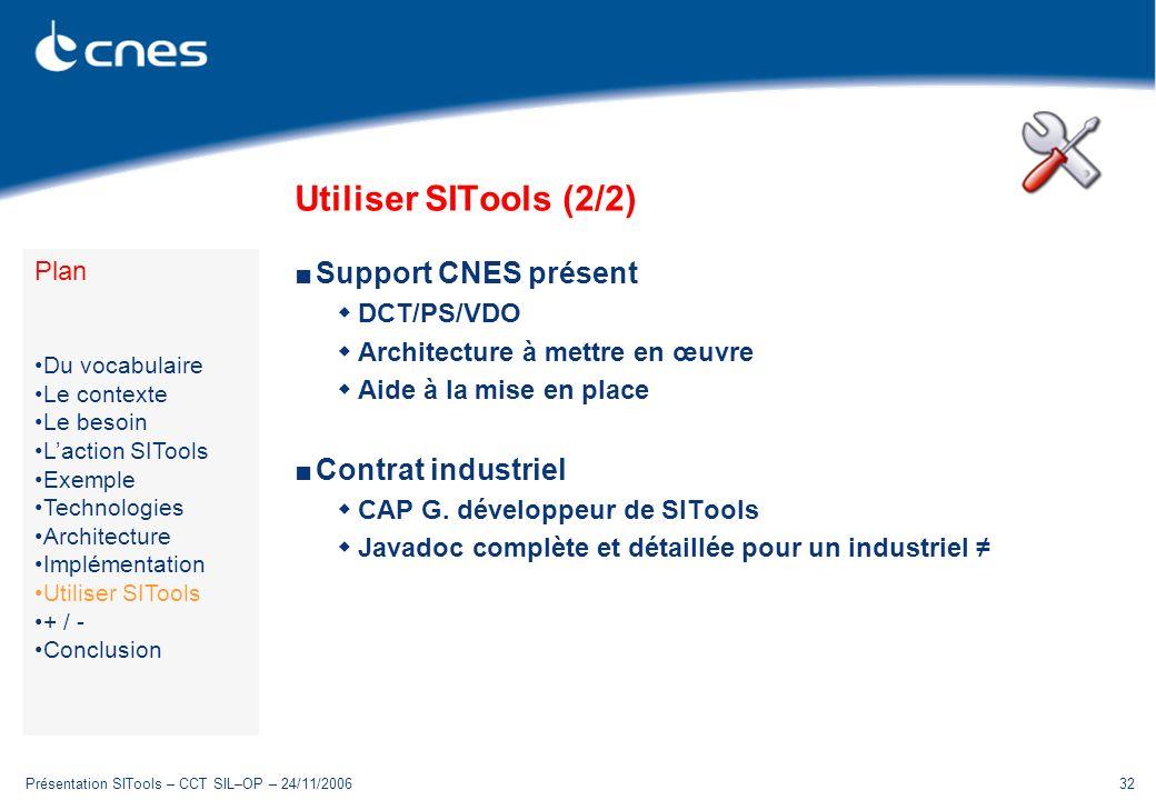 Présentation SITools – CCT SIL–OP – 24/11/200632 Utiliser SITools (2/2) Support CNES présent DCT/PS/VDO Architecture à mettre en œuvre Aide à la mise