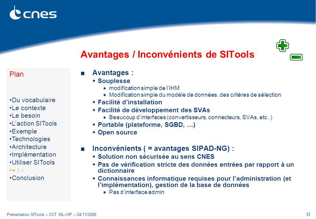 Présentation SITools – CCT SIL–OP – 24/11/200633 Avantages / Inconvénients de SITools Avantages : Souplesse modification simple de lIHM Modification simple du modèle de données, des critères de sélection Facilité dinstallation Facilité de développement des SVAs Beaucoup dinterfaces (convertisseurs, connecteurs, SVAs, etc..) Portable (plateforme, SGBD, …) Open source Inconvénients ( = avantages SIPAD-NG) : Solution non sécurisée au sens CNES Pas de vérification stricte des données entrées par rapport à un dictionnaire Connaissances informatique requises pour ladministration (et limplémentation), gestion de la base de données Pas dinterface admin Plan Du vocabulaire Le contexte Le besoin Laction SITools Exemple Technologies Architecture Implémentation Utiliser SITools + / - Conclusion