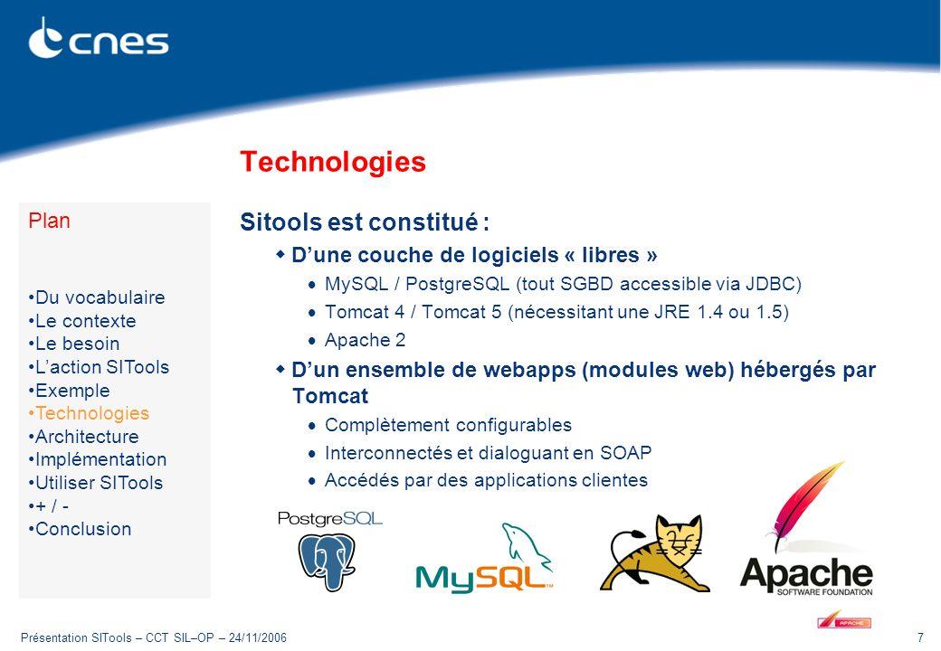 Présentation SITools – CCT SIL–OP – 24/11/20067 Technologies Sitools est constitué : Dune couche de logiciels « libres » MySQL / PostgreSQL (tout SGBD accessible via JDBC) Tomcat 4 / Tomcat 5 (nécessitant une JRE 1.4 ou 1.5) Apache 2 Dun ensemble de webapps (modules web) hébergés par Tomcat Complètement configurables Interconnectés et dialoguant en SOAP Accédés par des applications clientes Plan Du vocabulaire Le contexte Le besoin Laction SITools Exemple Technologies Architecture Implémentation Utiliser SITools + / - Conclusion