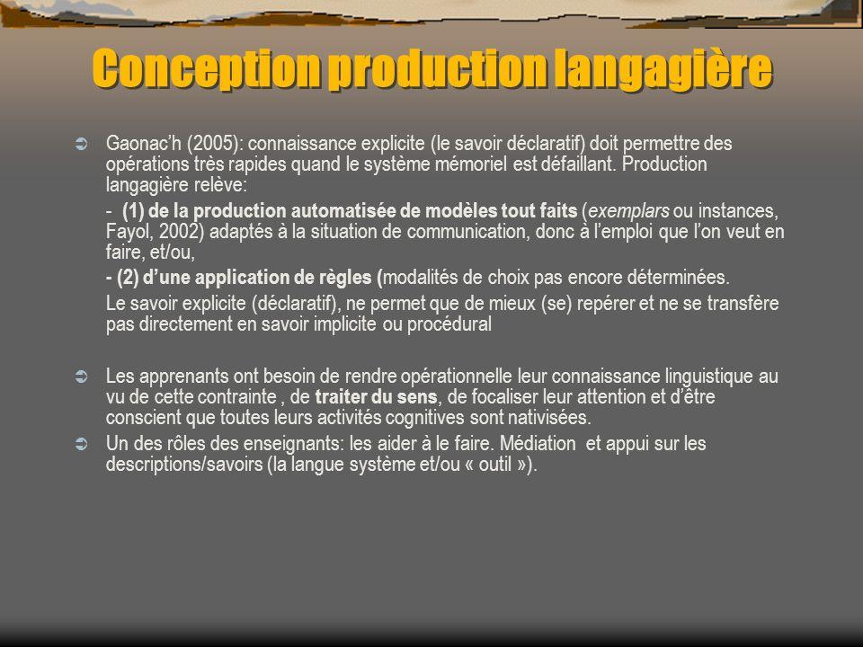 Conception production langagière Gaonach (2005): connaissance explicite (le savoir déclaratif) doit permettre des opérations très rapides quand le sys