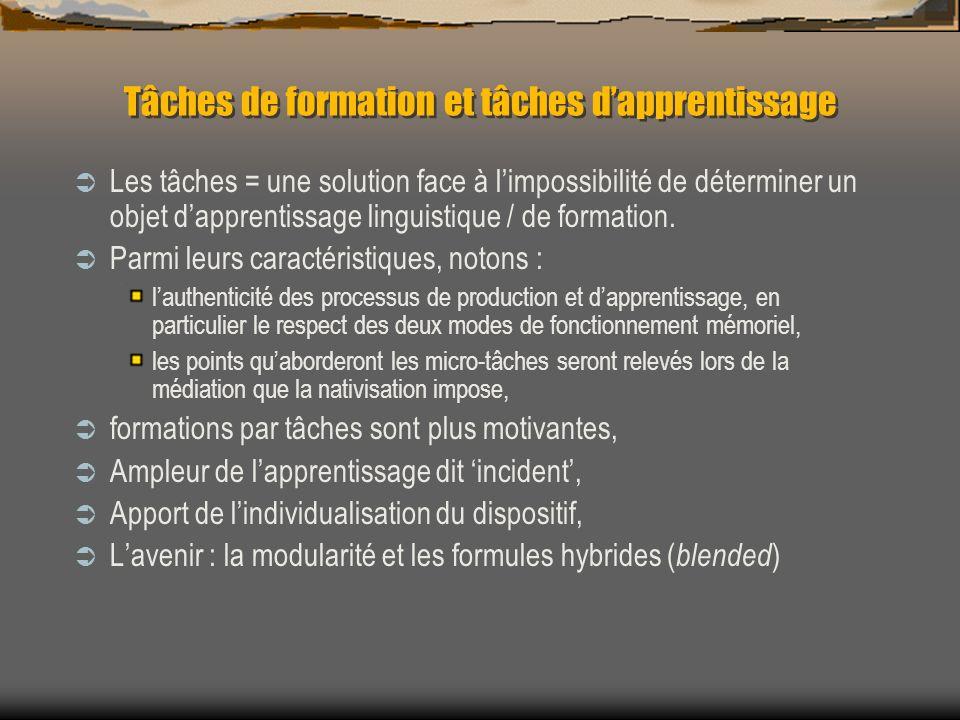 Tâches de formation et tâches dapprentissage Les tâches = une solution face à limpossibilité de déterminer un objet dapprentissage linguistique / de f