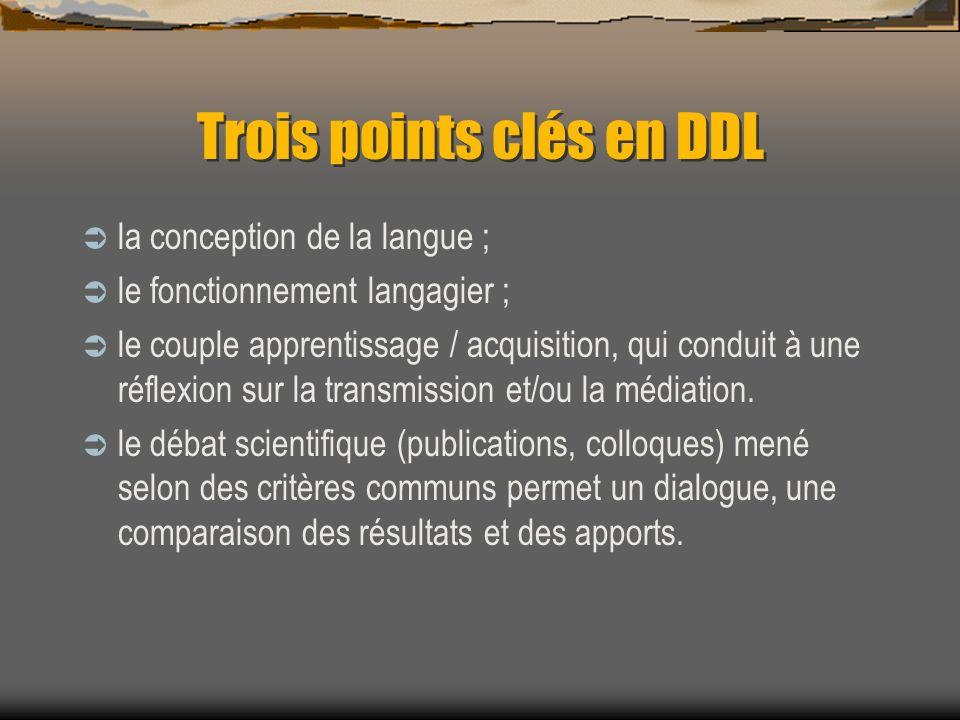 Trois points clés en DDL la conception de la langue ; le fonctionnement langagier ; le couple apprentissage / acquisition, qui conduit à une réflexion