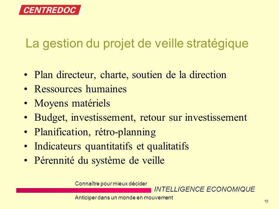 INTELLIGENCE ECONOMIQUE Connaître pour mieux décider Anticiper dans un monde en mouvement 19 La gestion du projet de veille stratégique Plan directeur