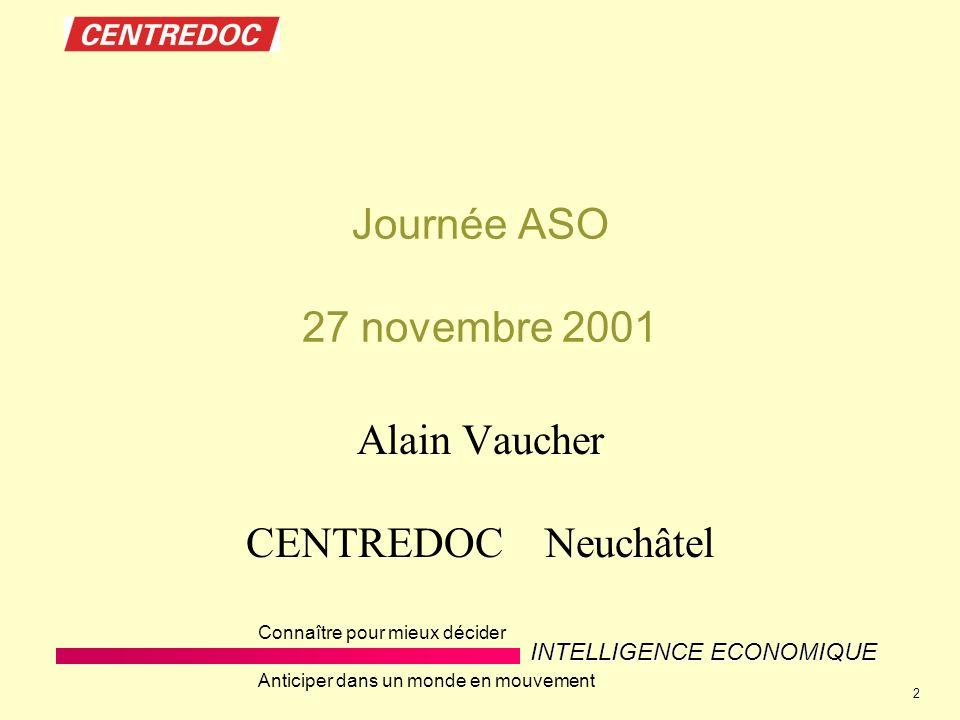 INTELLIGENCE ECONOMIQUE Connaître pour mieux décider Anticiper dans un monde en mouvement 2 Journée ASO 27 novembre 2001 Alain Vaucher CENTREDOC Neuchâtel