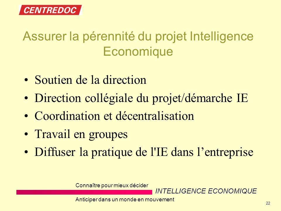 INTELLIGENCE ECONOMIQUE Connaître pour mieux décider Anticiper dans un monde en mouvement 22 Assurer la pérennité du projet Intelligence Economique So