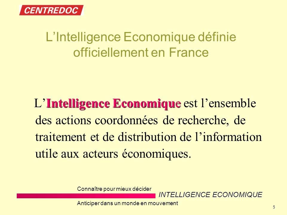 INTELLIGENCE ECONOMIQUE Connaître pour mieux décider Anticiper dans un monde en mouvement 5 LIntelligence Economique définie officiellement en France