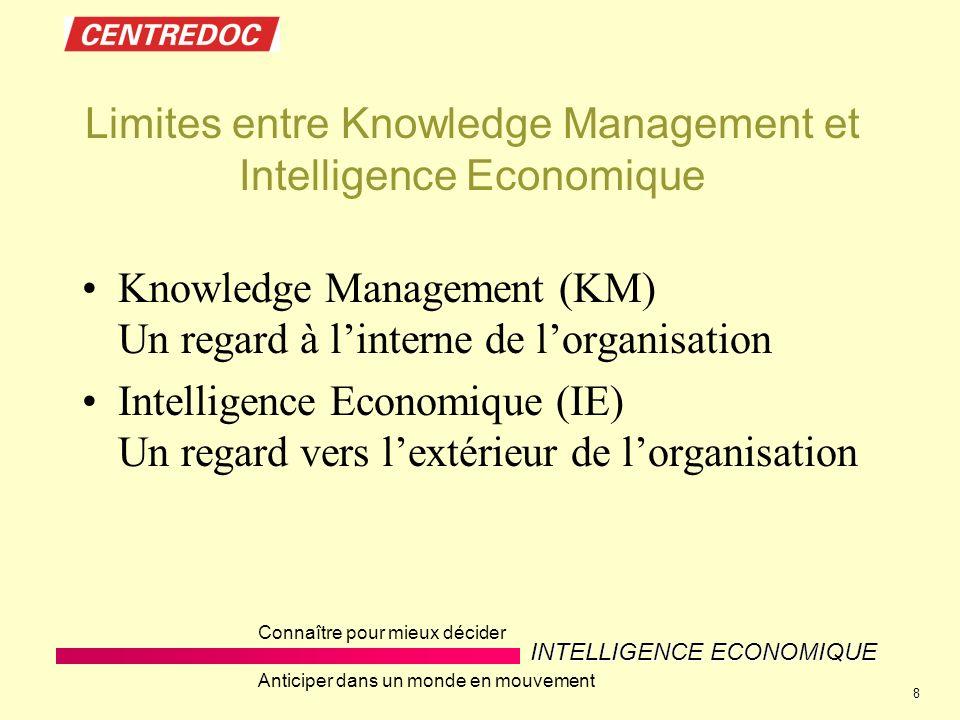 INTELLIGENCE ECONOMIQUE Connaître pour mieux décider Anticiper dans un monde en mouvement 8 Limites entre Knowledge Management et Intelligence Economique Knowledge Management (KM) Un regard à linterne de lorganisation Intelligence Economique (IE) Un regard vers lextérieur de lorganisation