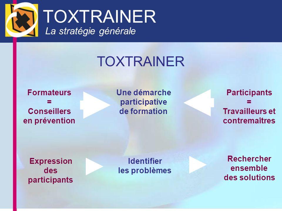 La stratégie générale TOXTRAINER Formateurs = Conseillers en prévention Participants = Travailleurs et contremaîtres Une démarche participative de for