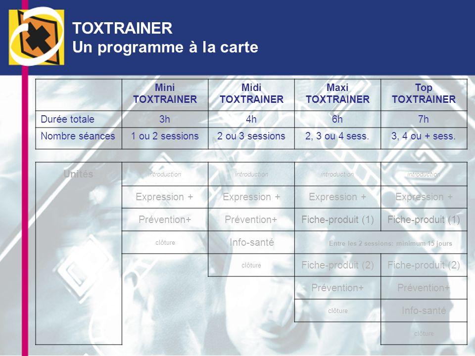 TOXTRAINER Un programme à la carte Mini TOXTRAINER Midi TOXTRAINER Maxi TOXTRAINER Top TOXTRAINER Durée totale3h4h6h7h Nombre séances1 ou 2 sessions2