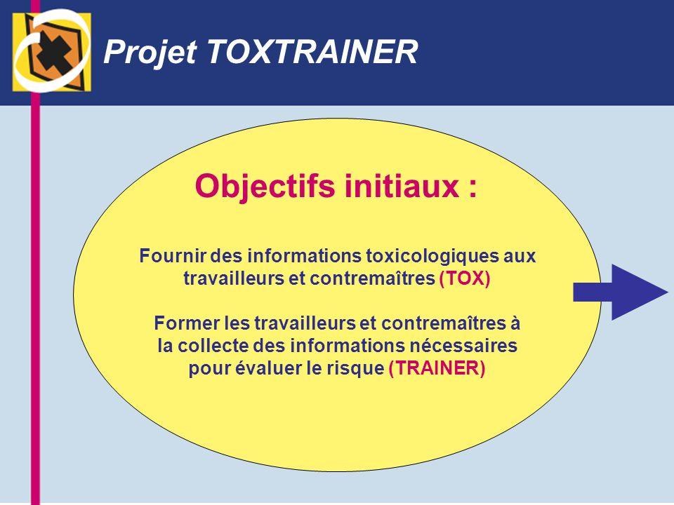 Projet TOXTRAINER Objectifs initiaux : Fournir des informations toxicologiques aux travailleurs et contremaîtres (TOX) Former les travailleurs et cont
