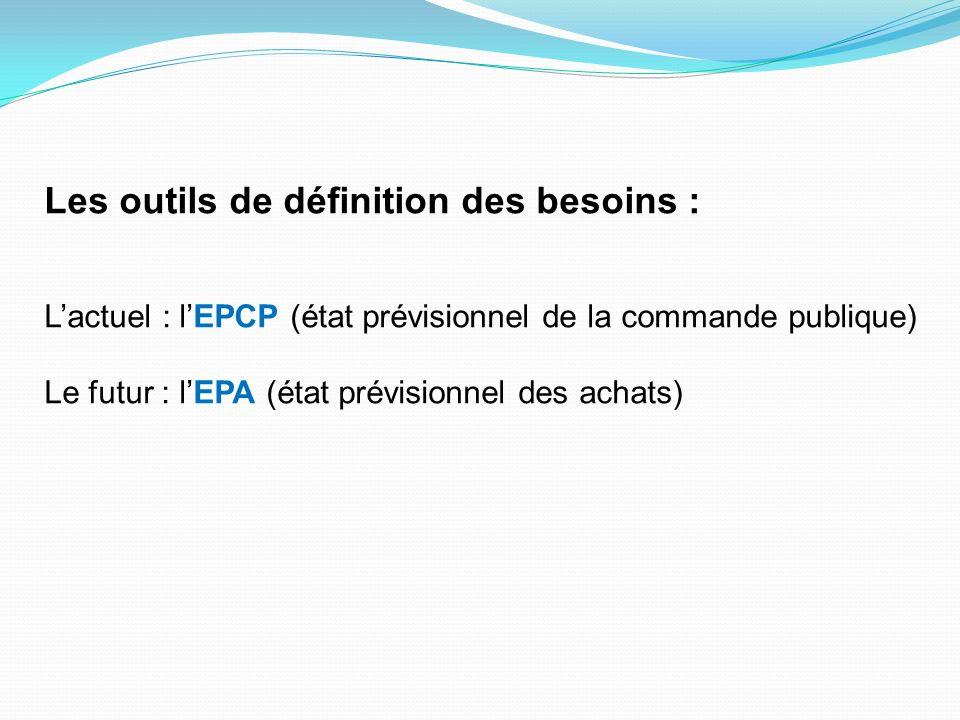 Les outils de définition des besoins : Lactuel : lEPCP (état prévisionnel de la commande publique) Le futur : lEPA (état prévisionnel des achats)