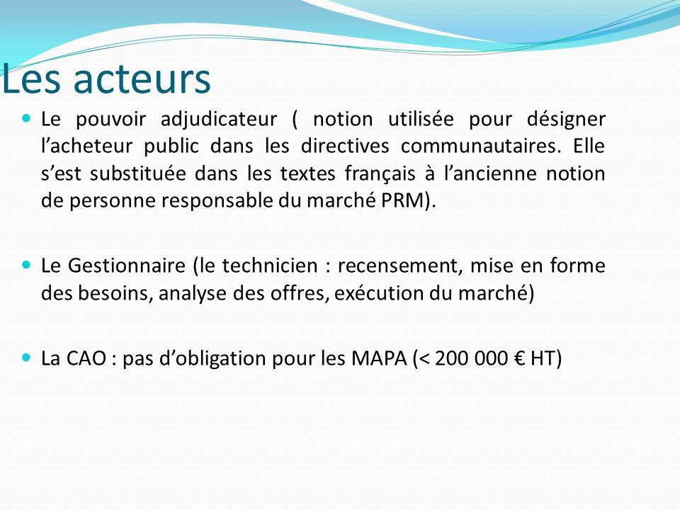 Les différents types de marchés : Marchés à procédure adaptée (MAPA) Pour les marchés et accords cadres relatifs aux fournitures et services dont le montant estimé du besoin est supérieur à 200 000 hors taxe (au 01/01/2012 pour les collectivités et donc les EPLE), les pouvoirs adjudicateurs utilisent les procédures formalisées suivantes : - appel doffres ouvert ou restreint (Art 33) ; - procédures négociées (Art 36) ; - dialogue compétitif (Art 38) ; - système dacquisition dynamique (Art 78).