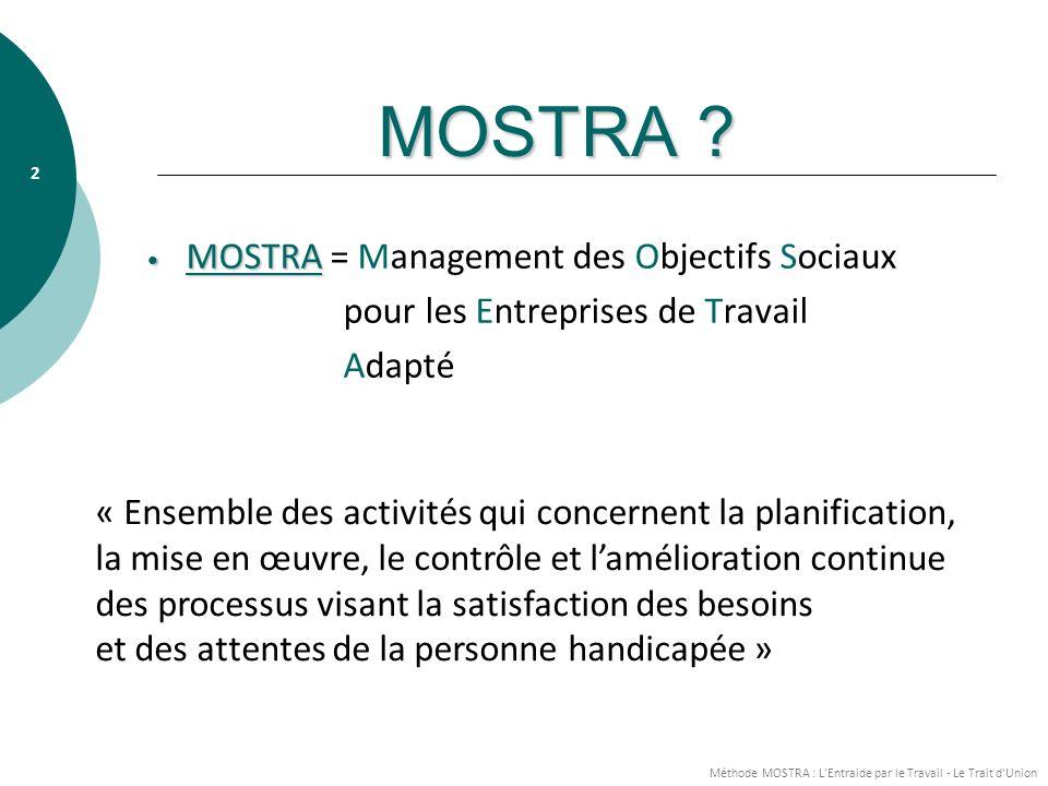Méthode MOSTRA : L Entraide par le Travail - Le Trait d Union 3 ORIGINES Volonté des membres de la F.E.T.A.H.