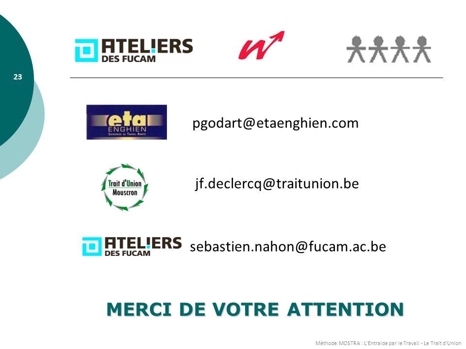 Méthode MOSTRA : L Entraide par le Travail - Le Trait d Union 23 pgodart@etaenghien.com jf.declercq@traitunion.be sebastien.nahon@fucam.ac.be MERCI DE VOTRE ATTENTION