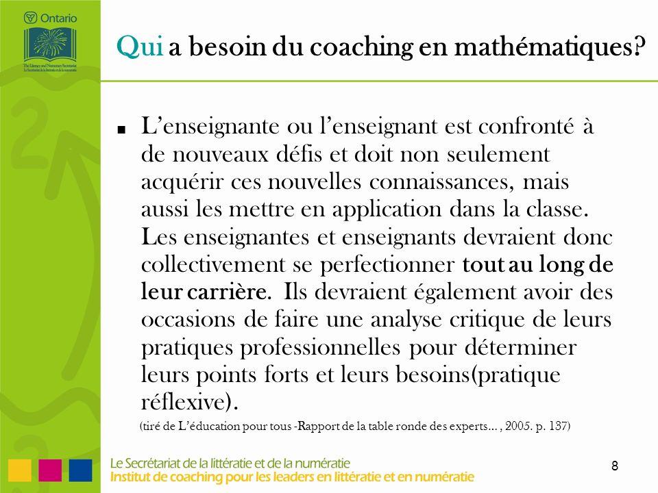 8 Qui a besoin du coaching en mathématiques.