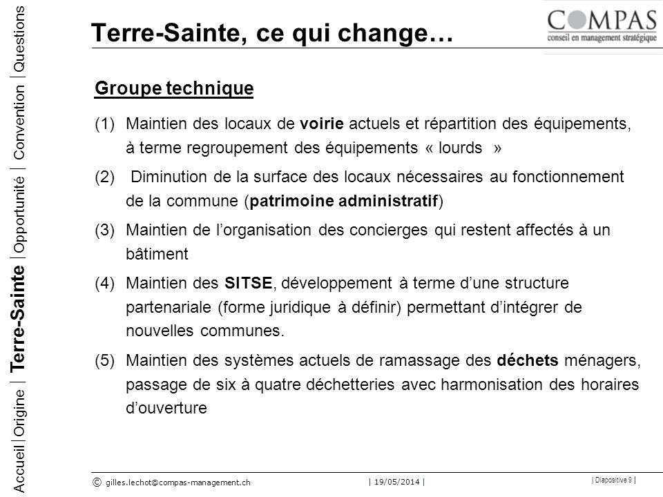© gilles.lechot@compas-management.ch | 19/05/2014 | | Diapositive 20 | Convention de fusion Accueil Origine Terre-Sainte Opportunité Convention Questions Article 2 – Nom Le nom de la nouvelle commune est Terre-Sainte.