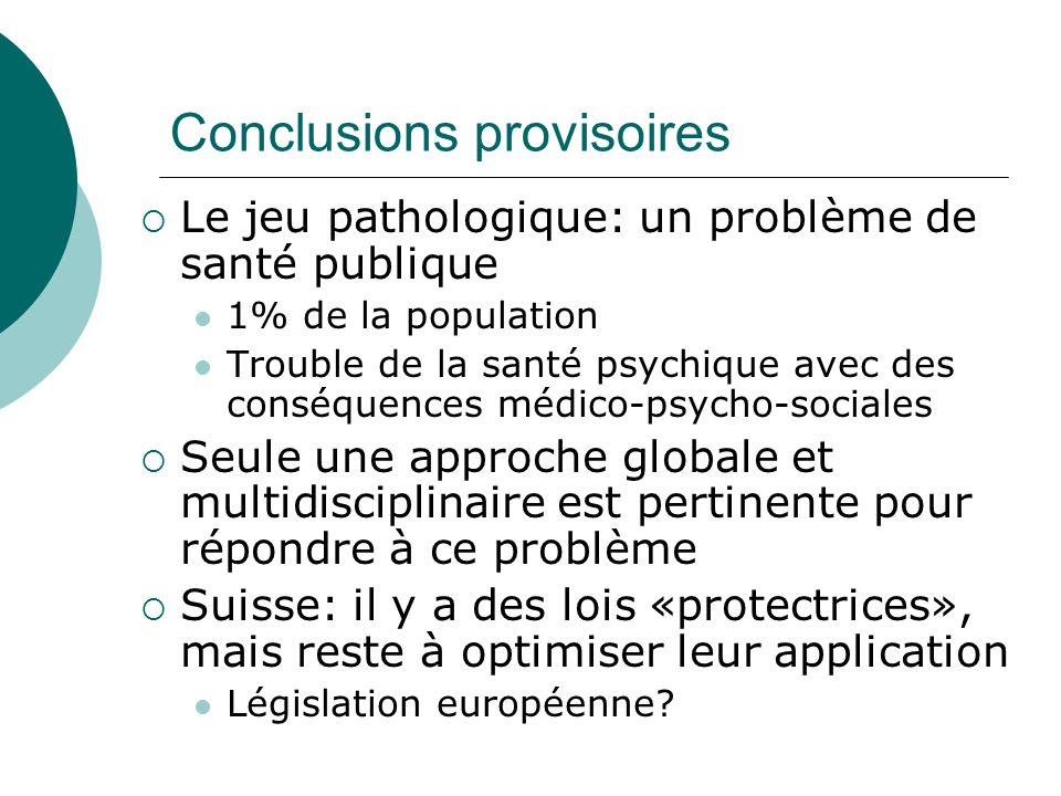 Conclusions provisoires Le jeu pathologique: un problème de santé publique 1% de la population Trouble de la santé psychique avec des conséquences méd