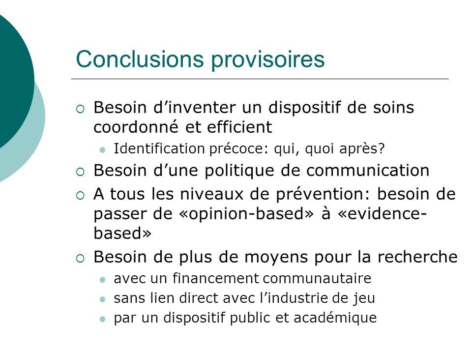 Conclusions provisoires Besoin dinventer un dispositif de soins coordonné et efficient Identification précoce: qui, quoi après? Besoin dune politique
