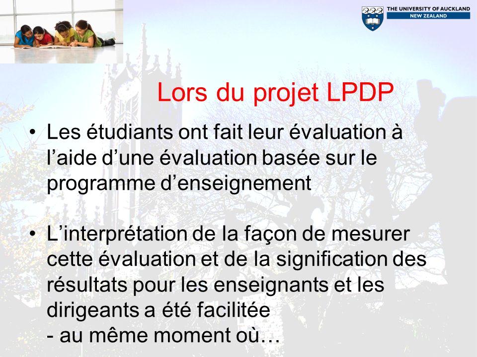Lors du projet LPDP Les étudiants ont fait leur évaluation à laide dune évaluation basée sur le programme denseignement Linterprétation de la façon de mesurer cette évaluation et de la signification des résultats pour les enseignants et les dirigeants a été facilitée - au même moment où…