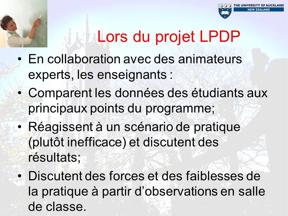Lors du projet LPDP En collaboration avec des animateurs experts, les enseignants : Comparent les données des étudiants aux principaux points du progr