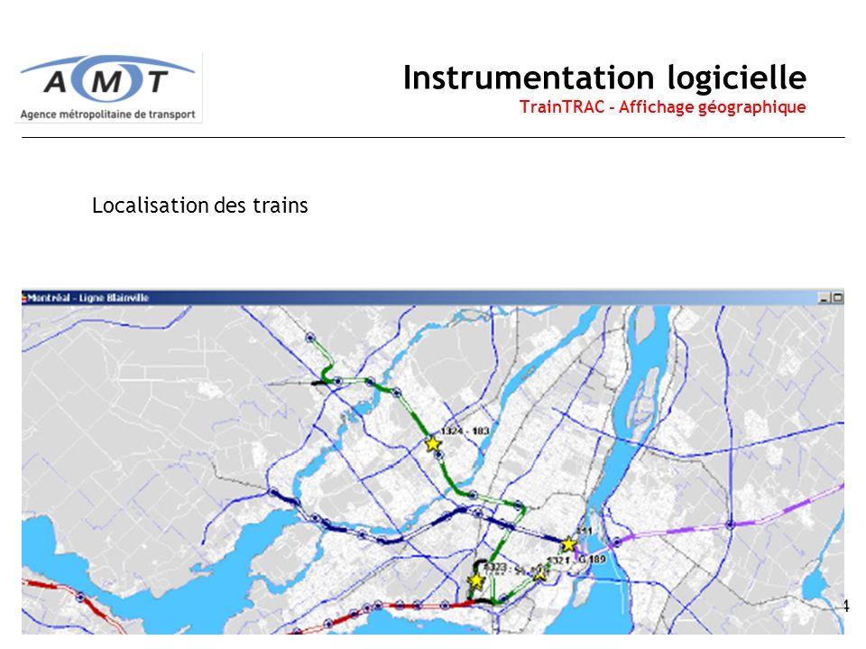 14 Instrumentation logicielle TrainTRAC - Affichage géographique Localisation des trains