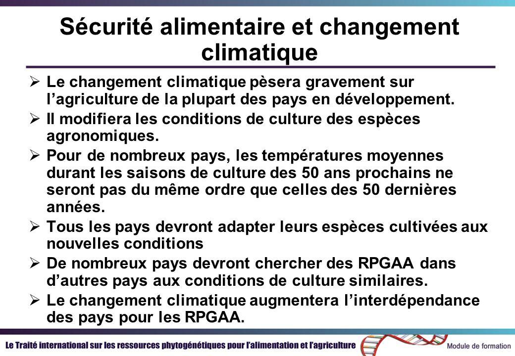Sécurité alimentaire et changement climatique Le changement climatique pèsera gravement sur lagriculture de la plupart des pays en développement. Il m