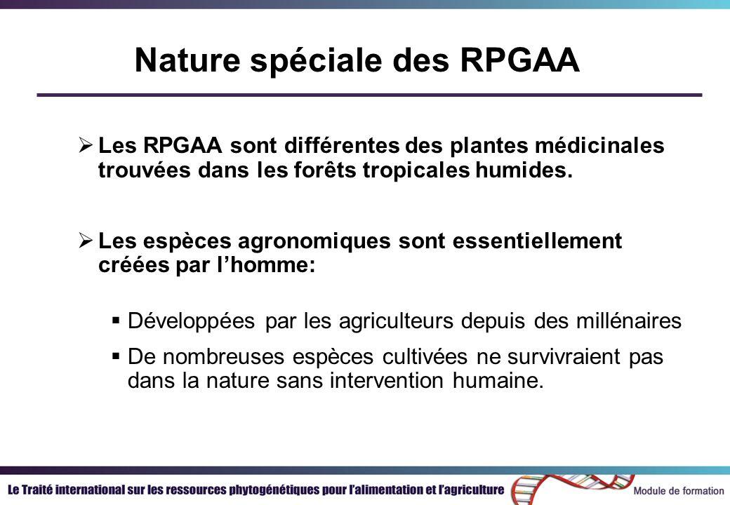 Nature spéciale des RPGAA Les RPGAA sont différentes des plantes médicinales trouvées dans les forêts tropicales humides. Les espèces agronomiques son