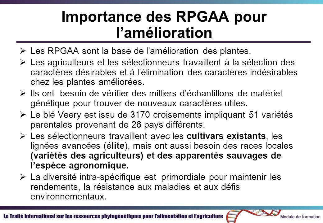 Importance des RPGAA pour lamélioration Les RPGAA sont la base de lamélioration des plantes. Les agriculteurs et les sélectionneurs travaillent à la s