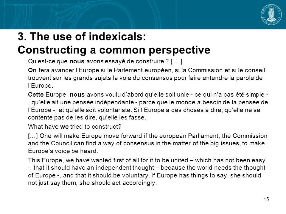 3. The use of indexicals: Constructing a common perspective Quest-ce que nous avons essayé de construire ? [….] On fera avancer lEurope si le Parlemen