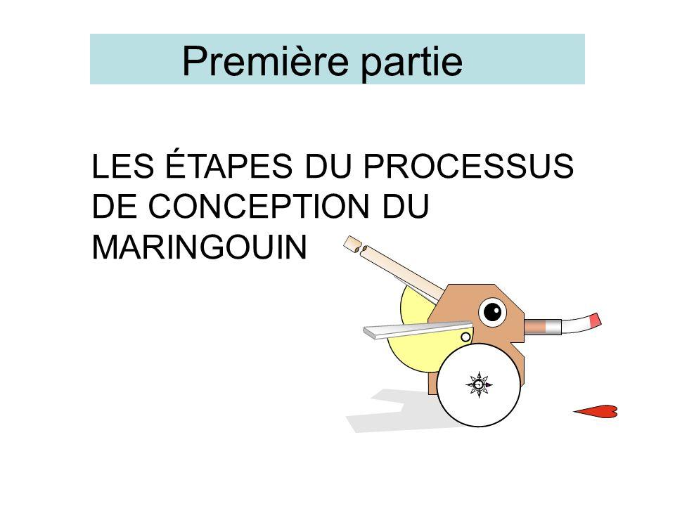 LES ÉTAPES DU PROCESSUS DE CONCEPTION DU MARINGOUIN Première partie