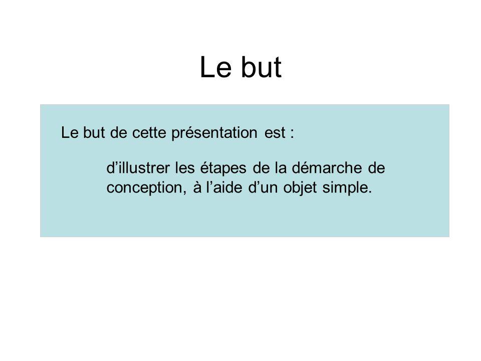 Le but Le but de cette présentation est : dillustrer les étapes de la démarche de conception, à laide dun objet simple.