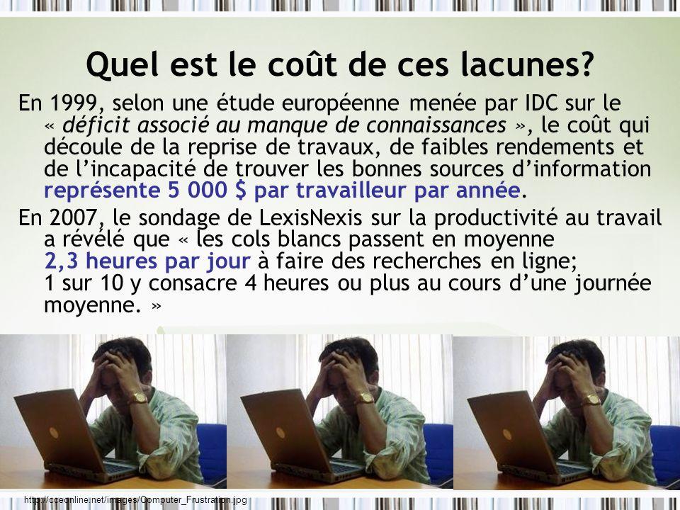 Quel est le coût de ces lacunes? En 1999, selon une étude européenne menée par IDC sur le « déficit associé au manque de connaissances », le coût qui
