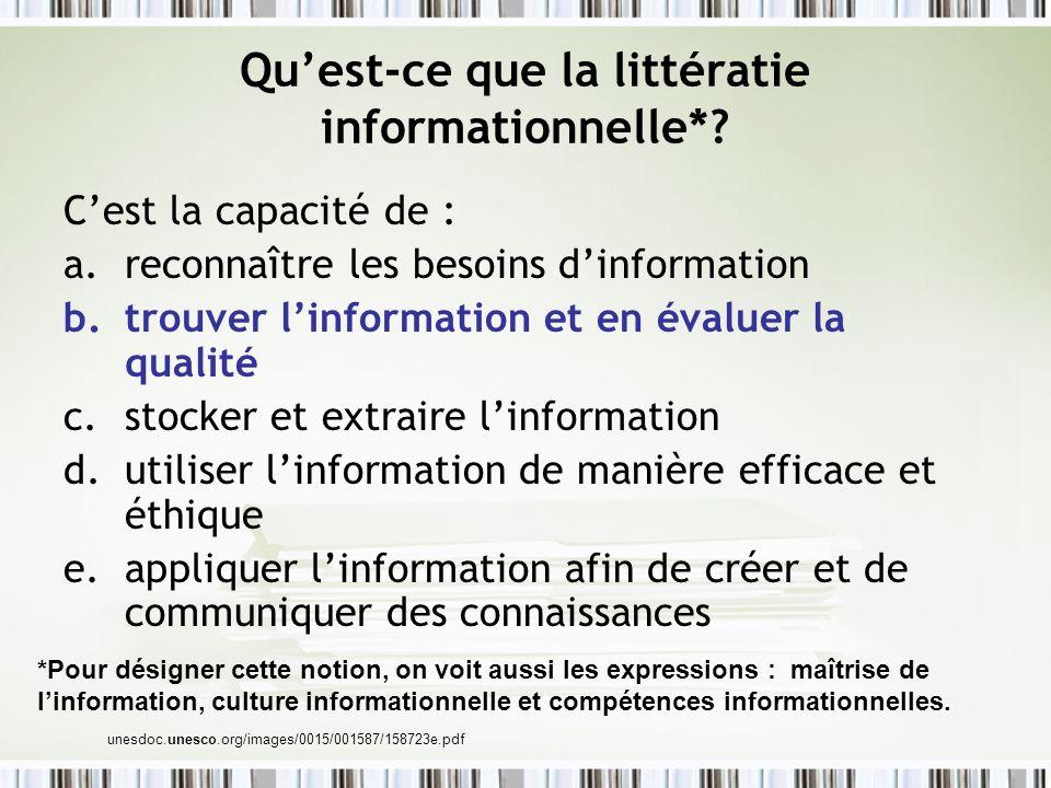 Quest-ce que la littératie informationnelle*? Cest la capacité de : a.reconnaître les besoins dinformation b.trouver linformation et en évaluer la qua