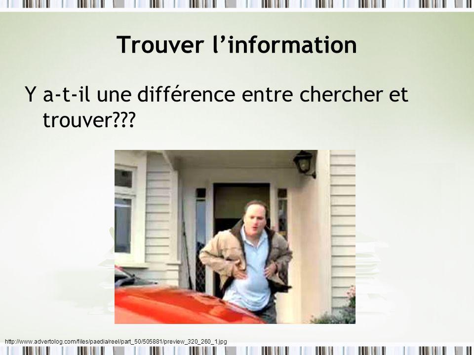 Trouver linformation Y a-t-il une différence entre chercher et trouver??? http://www.advertolog.com/files/paedia/reel/part_50/505881/preview_320_260_1
