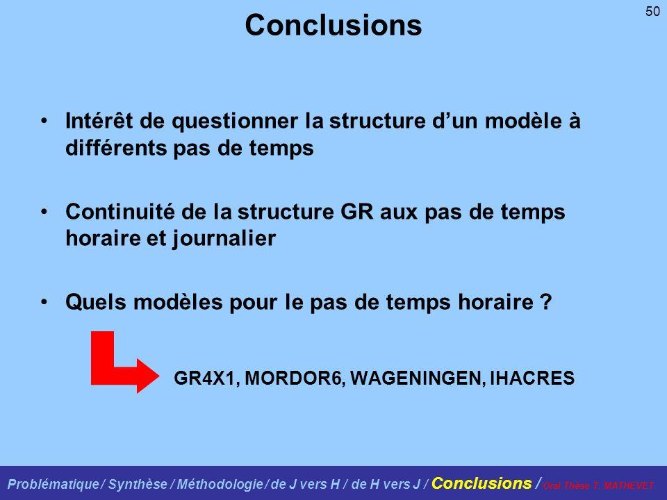 50 Conclusions Intérêt de questionner la structure dun modèle à différents pas de temps Continuité de la structure GR aux pas de temps horaire et journalier Quels modèles pour le pas de temps horaire .