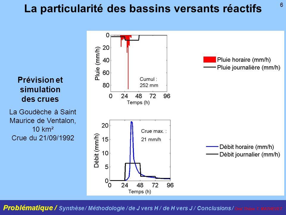 6 La particularité des bassins versants réactifs La Goudèche à Saint Maurice de Ventalon, 10 km² Crue du 21/09/1992 Prévision et simulation des crues