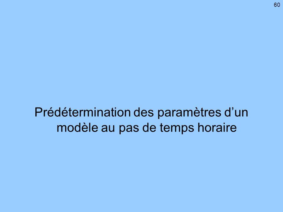 60 Prédétermination des paramètres dun modèle au pas de temps horaire