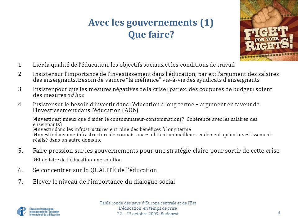 Avec les gouvernements (1) Que faire.