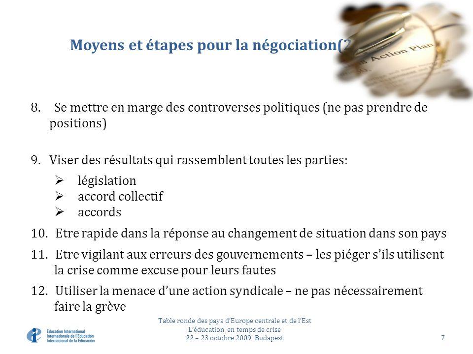 Moyens et étapes pour la négociation(2) 8.Se mettre en marge des controverses politiques (ne pas prendre de positions) 9.Viser des résultats qui rassemblent toutes les parties: législation accord collectif accords 10.