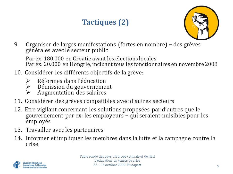 Tactiques (2) 9.Organiser de larges manifestations (fortes en nombre) – des grèves générales avec le secteur public Par ex.
