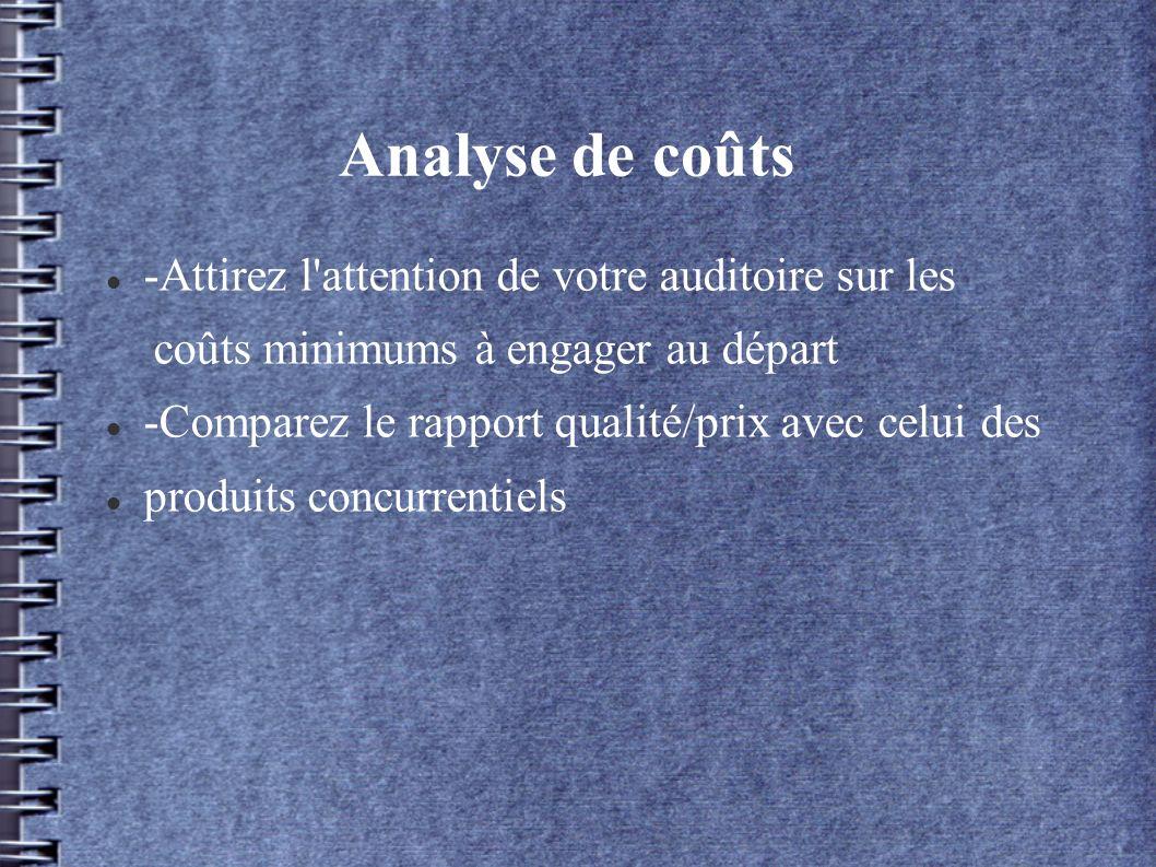 Analyse de coûts -Attirez l attention de votre auditoire sur les coûts minimums à engager au départ -Comparez le rapport qualité/prix avec celui des produits concurrentiels