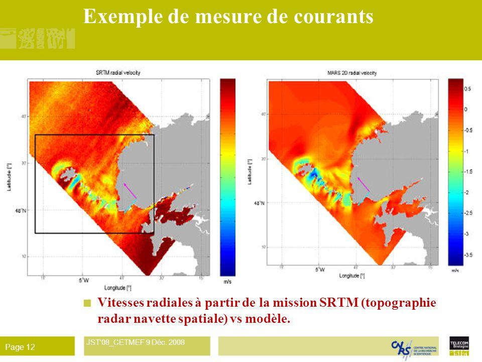 René Garello JST'08_CETMEF 9 Déc. 2008 Page 12 Exemple de mesure de courants Vitesses radiales à partir de la mission SRTM (topographie radar navette