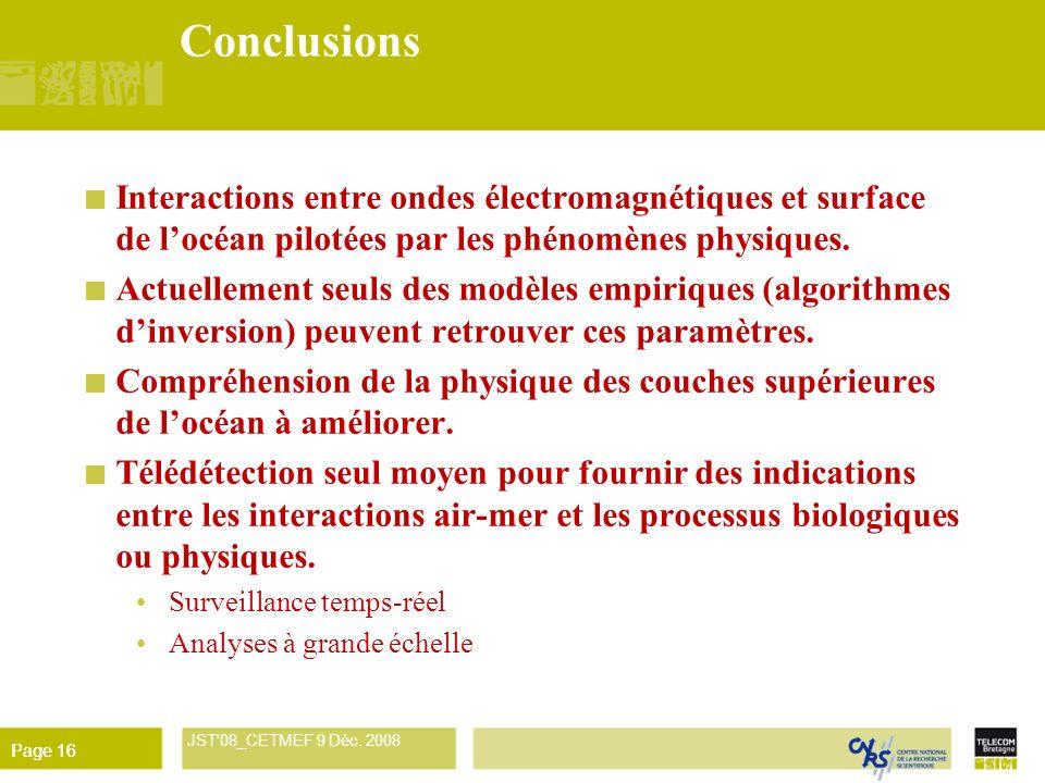 René Garello JST'08_CETMEF 9 Déc. 2008 Page 16 Conclusions Interactions entre ondes électromagnétiques et surface de locéan pilotées par les phénomène